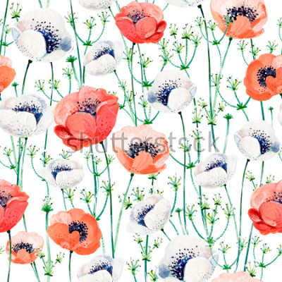 Vinilo Pattern consist of white and coral Anemones, white inflorescences on the green stems.