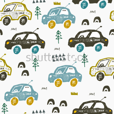 Vinilo Pattern with cars. Hand drawn autos on the road. Scandinavian style design. Decorative abstract art. Textile or fabric design