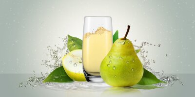 Vinilo Pears with a glass of juice.