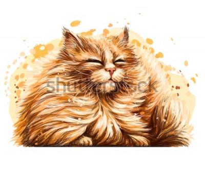 Vinilo Pegatina de pared. El dibujo a color, gráfico y artístico de un lindo y esponjoso gato está bizqueando al sol sobre un fondo blanco con un spray de acuarela.