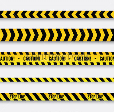 Vinilo Peligro y línea policial. Cinta amarilla de advertencia. Ilustracion vectorial