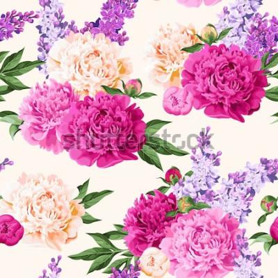 Vinilo Peonías multicolores sin costura y lila