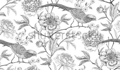 Vinilo Peonias y faisanes. Modelo inconsútil de la vendimia exótica floral con flores y pájaros. En blanco y negro. Estilo oriental Ilustración vectorial de arte. Para diseño textil, papel de embalaje, papel