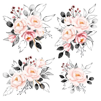 Vinilo Peonies, watercolor pink and gray flowers set. Floral summer vintage collection isolated on white background. Hand drawing. Perfectly for wedding, birthday, party, other greetings design.