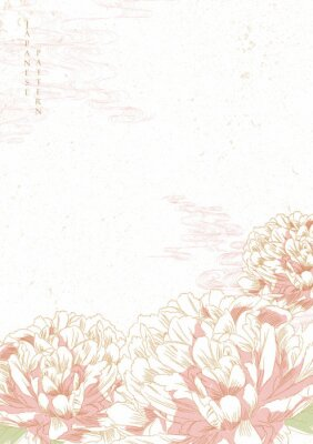 Vinilo Peony flower background vector. Japanese wave template. Save the date invitation card.