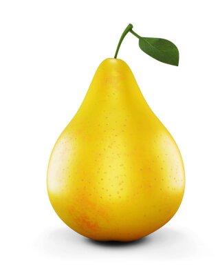 Vinilo Pera amarilla madura sobre fondo blanco. 3d.