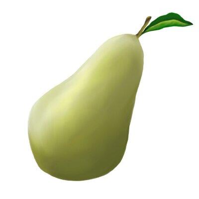 Vinilo Pera verde sobre un fondo blanco