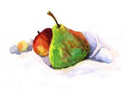 Vinilo Pera y manzana, acuarela
