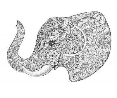 Vinilo Perfil del tatuaje del elefante con los patrones y adornos