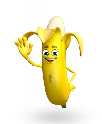 Vinilo Personaje de dibujos animados de la fruta de banano