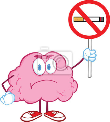 Personaje de dibujos animados del cerebro enojado que soporta ...