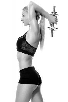 Vinilo Pesas de mano de elevación mujer sexy y en forma