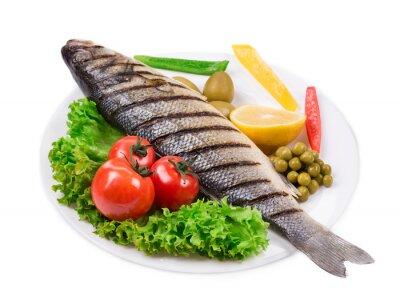 Vinilo Pescado a la plancha con verduras.