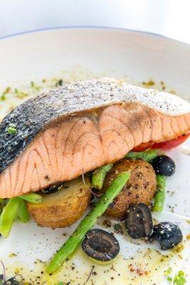Vinilo Pesto a la parrilla de filete de salmón