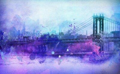 Vinilo Pictórica vista de NYC Puente de Manhattan y el río