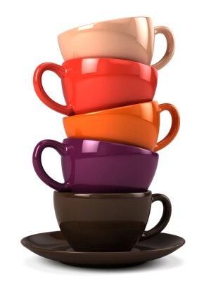 Vinilo Pila de tazas de café aislados en blanco