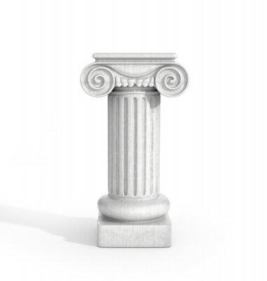 Vinilo Pilar de columna dórico alto aislado sobre fondo blanco. Pedestal.