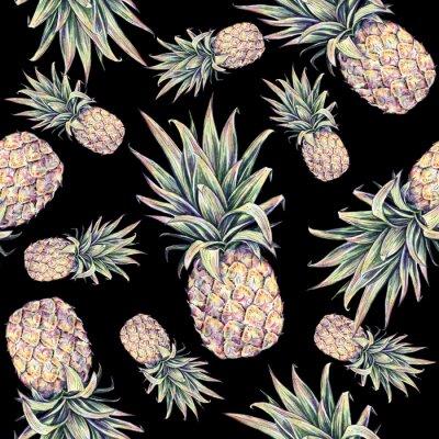 Vinilo Piñas en un fondo negro. Ilustración colorida de la acuarela. Fruta tropical. Patrón transparente
