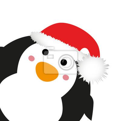 Vinilo Pingüino con el sombrero de Santa