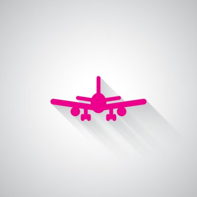 Vinilo Pink Aeroplano icono web sobre fondo gris claro