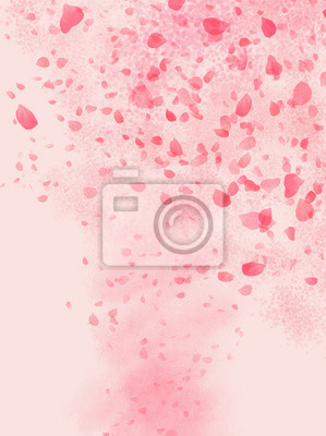 Vinilo Pink colored Rose leaves flowing in shaped of storm background illustration