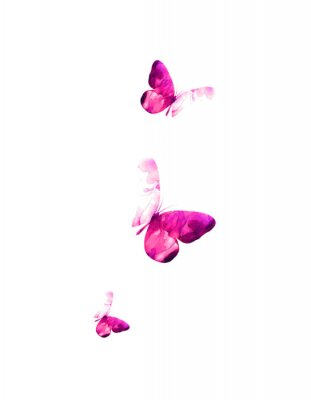 Vinilo Pink flying butterflies in watercolor. Mixed media. Vector illustration