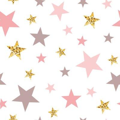 Vinilo Pink seamless pattern gold glitter stars pink for Christmas backgound or baby shower sweet girl design
