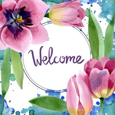 Vinilo Pink tulips floral botanical flowers. Watercolor background illustration set. Frame border ornament square.