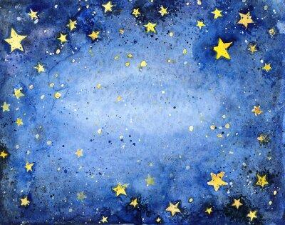 Vinilo Pintado a mano acuarela cielo azul con estrellas brillantes
