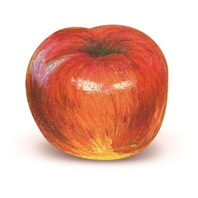 Vinilo Pintado de manzana roja con trazado de recorte