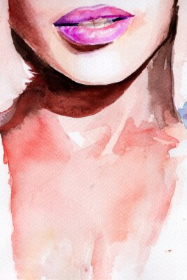 Vinilo pintalabios morado. labios acuarela