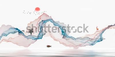 Vinilo Pintura de tinta, paisaje artístico, líneas abstractas de fondo