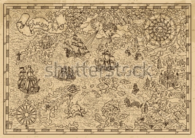 Vinilo Pirate Map with old sailing ships, fantasy creatures, treasure islands. Pirate adventures, treasure hunt and old transportation concept. Hand drawn vector illustration, vintage background