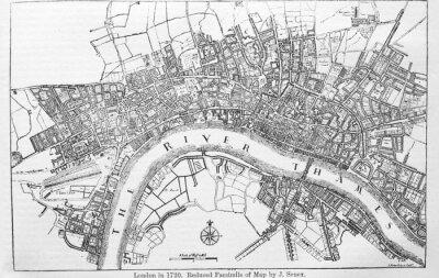 Vinilo Plan of London in 1720 in the old book The Encyclopaedia Britannica, vol. 14, by C. Blake, 1882, Edinburgh