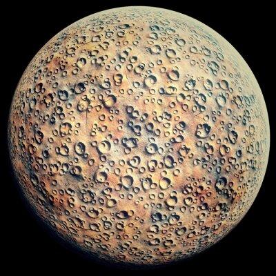 Vinilo Planeta con cráteres en un negro