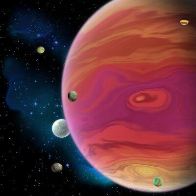 Vinilo Planeta de Júpiter - Júpiter es el planeta gigante más grande del gas en nuestro sistema solar con 67 lunas y tiene un vórtice grande del punto rojo debajo del ecuador.