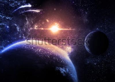 Vinilo Planeta oscuro y luna sobre una estrella brillante: elementos de esta imagen proporcionados por la NASA