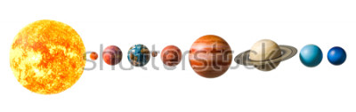 Vinilo Planets of the solar system, 3D rendering isolated on white background, Elements of this image furnished by NASA