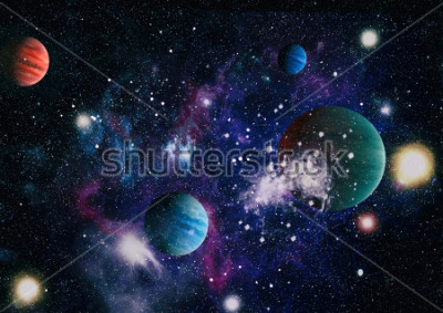 Vinilo planets, stars and galaxies in outer space showing the beauty of space exploration. Elements furnished by NASA