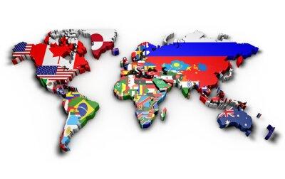 Vinilo Planisfero mondo 3d estafa bandiere en rilievo
