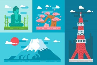 Vinilo Plano de diseño de Japón marcos conjunto