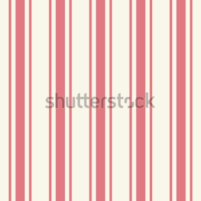 Vinilo Plantilla de rayas finas de color rosa claro liso enlosable en estilo artístico simple clásico carmesí estampado en beige. Repetición de modernas y llamativas tiras audaces. Vista detallada de primer
