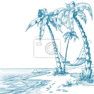 Vinilo Playa Tropical Con Palmeras Y Hamacas