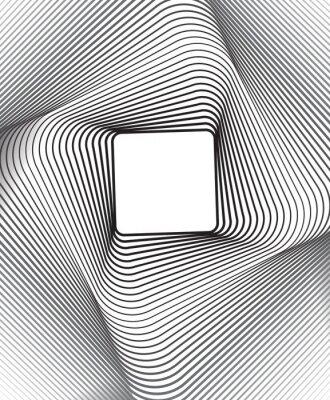 Vinilo plaza arte óptico fondo blanco y negro