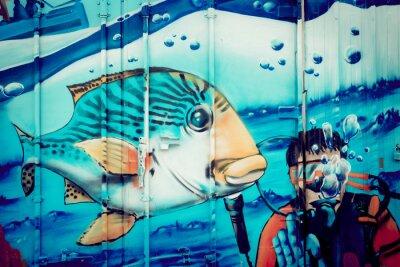 Vinilo Plongeur acuario Graffiti