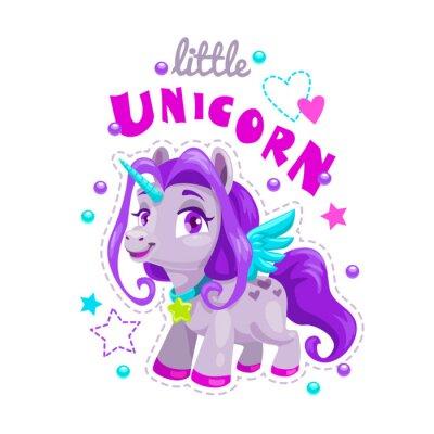 Vinilo Poca etiqueta de unicornio de dibujos animados lindo. Ejemplo dulce de la princesa del potro.