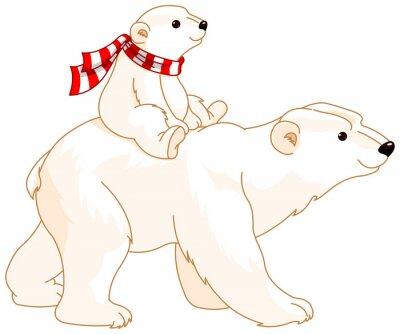 Vinilo Polar Bear mamá y bebé
