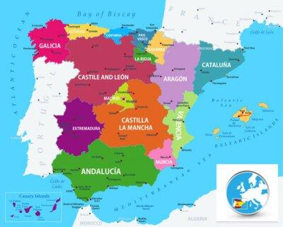 Vinilo Political map of Spain