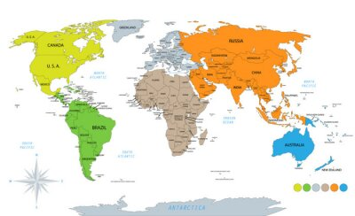 Vinilo Political world map on white background, with every state labeled and selectable. Colored by continents. Versatile file, turn on an off visibility and color of each country in one click.