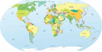 Vinilo político mapa del mundo de color
